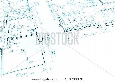 Architectural Background With Construction Plan And Technical Drawing