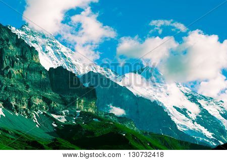 Jungfraujoch, Swiss Alps - snow capped mountains and deep valleys stunning view breath-taking panorama
