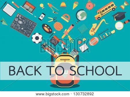 School stuffs flowing into school back. Back to school concept for background ,banner, poster and design element