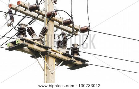 Closeup electrical pole isolate on white background