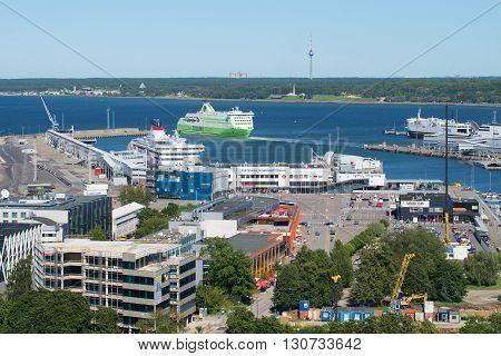 TALLINN, ESTONIA - AUGUST 01, 2015: View of the Tallinn passenger port on a sunny summer day. Passenger tourist boat departs from the pier