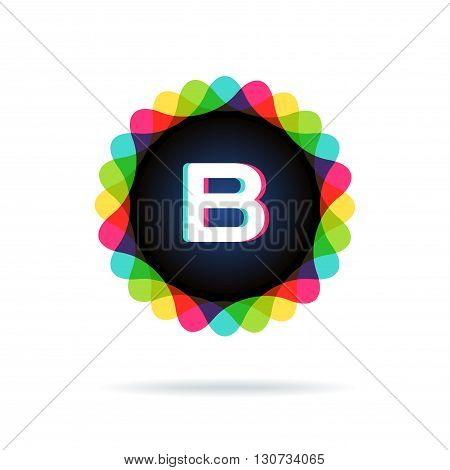 Retro bright colors Logotype, Letter B, isolated on white