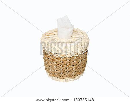 Box tissue paper on a white bckground