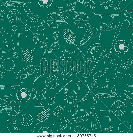 Seamless pattern on the theme of summer sports simple icons light outline on a green background