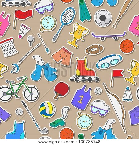 Seamless pattern on the theme of summer sports simple colorful icons on a brown background