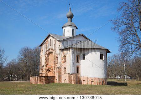 Ancient Church of St. Paraskevi, sunny april day. Velikiy Novgorod, Russia. Religious landmark