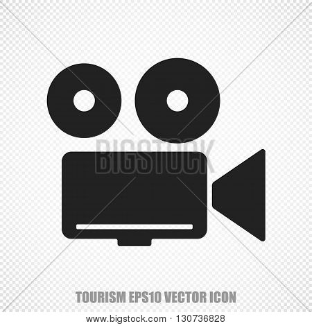 The universal vector icon on the vacation theme: Black Camera. Modern flat design. For mobile and web design. EPS 10.