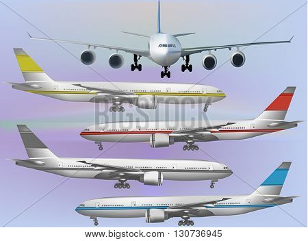 illustration with airplanes collection  on light background