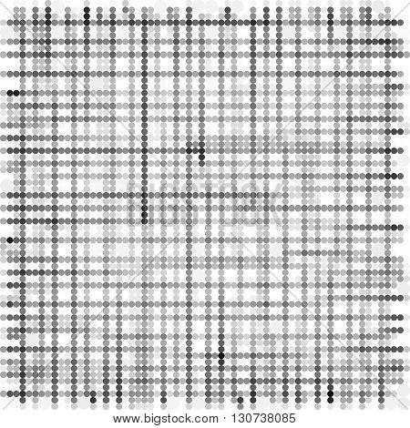 grid made with grayscale bubble pattern over white
