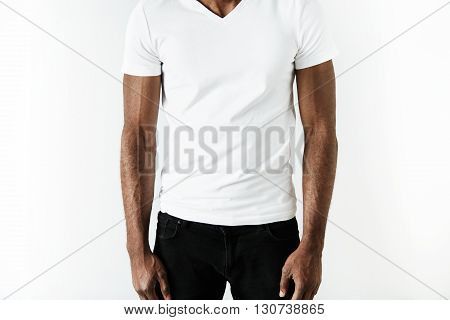 Cropped Isolated Portrait Of Athlete African American Man Wearing Black Jeans And White Blank T-shir
