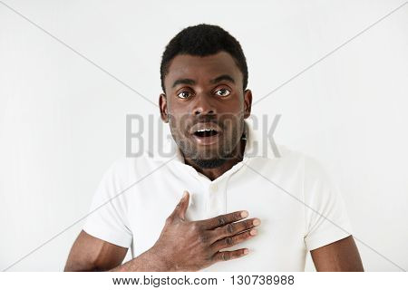 Isolated Portrait Of Shocked Young Attractive African American Male Looking In Full Disbelief, Hand