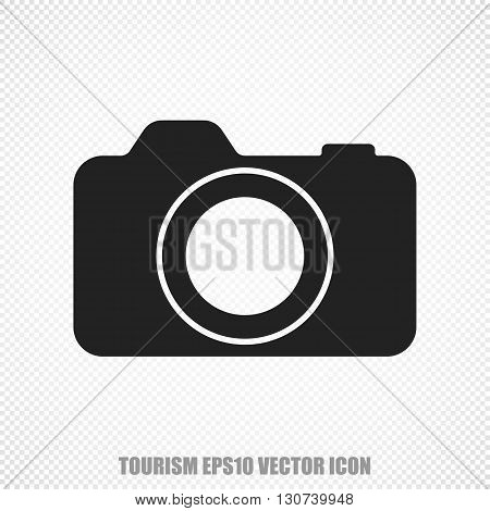 The universal vector icon on the travel theme: Black Photo Camera. Modern flat design. For mobile and web design. EPS 10.