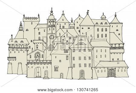 Cartoon hand drawing old town houses, vector