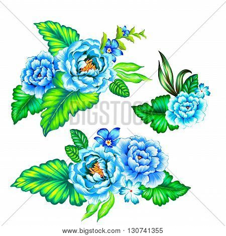 blue roses, latin flowers. a collection of floral arrangments in ethnic mexican style with strong colors and very beautiful detailed vintage roses.