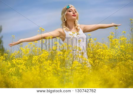 Beautiful woman enjoying in sunny day, freedom feel