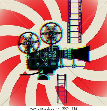 Abstract background with film cinema camera, vector illustration