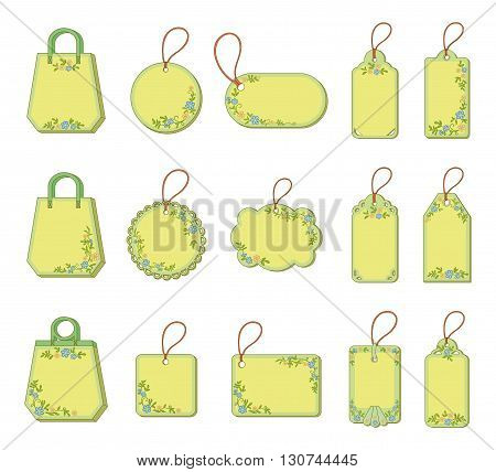 Set Labels Tags with Floral Pattern. Free for the Test with the Description and Price of Goods. Vector