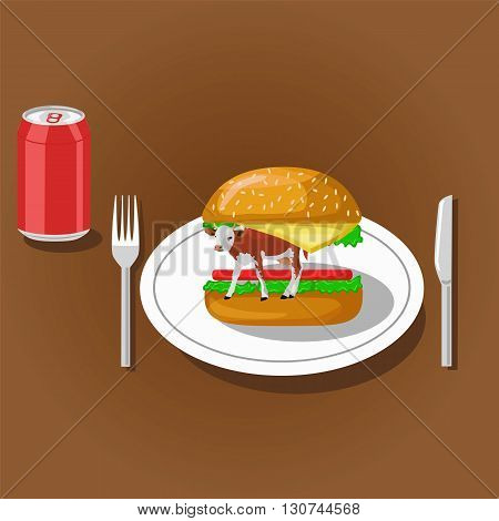 Hamburger with cow on plate and soda can. Color flat vector illustration