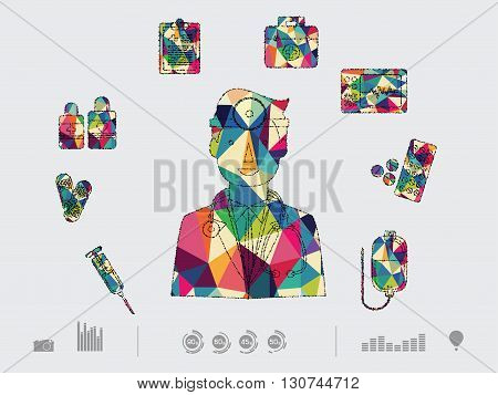 vector illustration of colorful dental on white background
