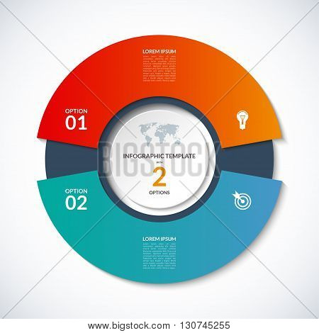 Vector circle template for infographics. Business concept with 2 options, steps, parts, segments. Banner for cycling diagram, round chart, pie chart, business presentation, annual report, web design