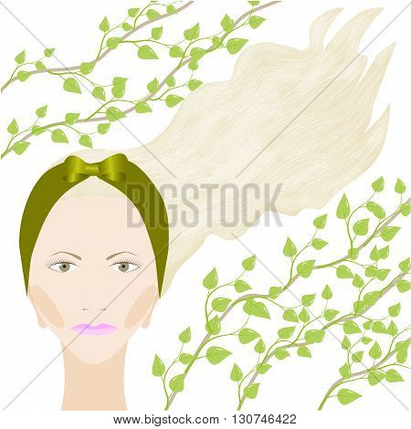 Girl's portrait with green headband and a tree branch isolated on white background, vector illustration
