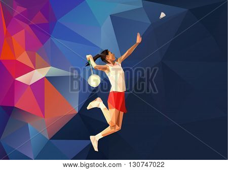 Unusual colorful triangle background Geometric polygonal professional badminton player during smash