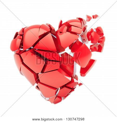 Broken 3d red heart isolated on white