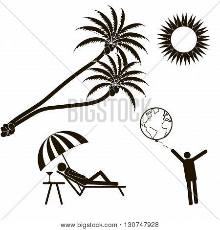 Summer vacation palm trees the bright sun. The world in your hands. Stick Figure