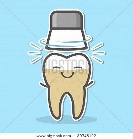 Mechanical teeth whitening concept. Rotating brush and tooth. Dental vector illustration