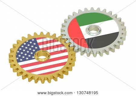 United Arab Emirates and United States relations concept flags on a gears. 3D rendering isolated on white background