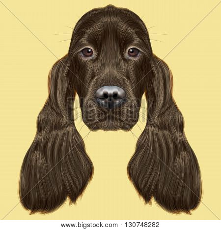 Illustrated portrait of Gordon Setter dog. Cute face of hunting breed of dog on yellow background.