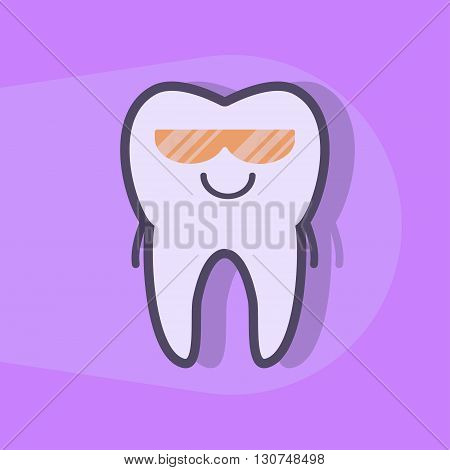 Ultraviolet teeth whitening concept. Tooth under UV light. Dental vector illustration
