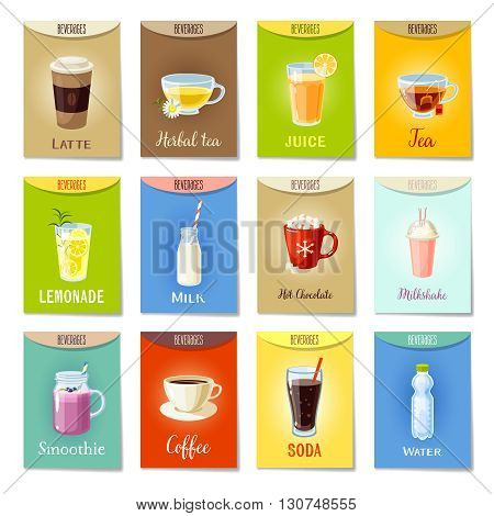 Set of AD-cards -banners, tags, package- labels with cartoon beverages: latte, herbal tea, juice, tea, lemonade, milk, hot chocolate, milkshake, smoothie, coffee, soda, water. Vector illustration.