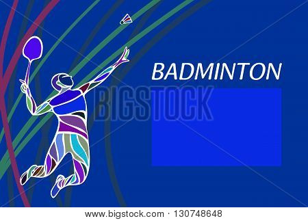 Badminton sport invitation poster or flyer background with empty space banner template on blue background
