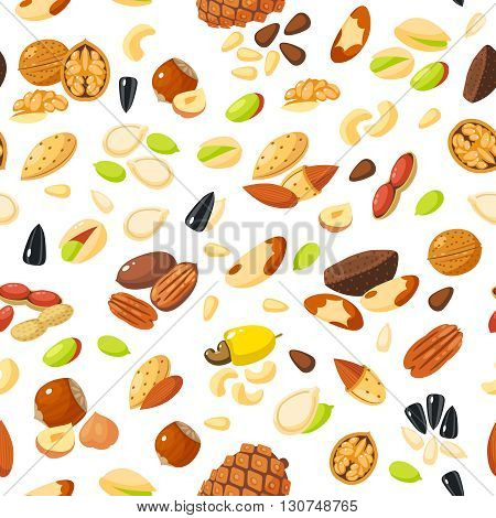 Seamless pattern with cartoon nuts - hazelnut, almond, pistachio, pecan, cashew, brazil nut, walnut, peanut, coconut, pumpkin seeds, sunflower seeds and pine nuts. Vector illustration, eps 10.