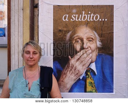 ROME ITALY - MAY 21 2016: Marco Pannella funerary commemoration in Navona Square the Italian Politician was a Champion of Civil Liberties