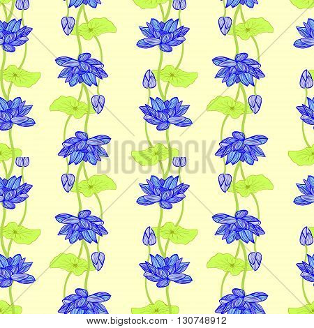 Vector of Hand drawn background of Beautiful lotus flowers and leaves. Botanical lotus flower seamless pattern for invitation or greeting card design.Vector illustration.
