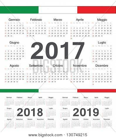 Vector Italian Circle Calendars 2017, 2018, 2019