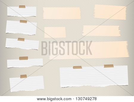 Pieces of ripped white, lined blank note paper, brown sticky, adhesive tapes are stuck on diagonal pattern wall.