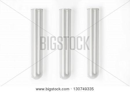 Three glass transparent test tube on white background