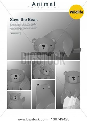 Animal background with Bears , vector, illustration