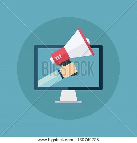Male hand holding megaphone coming out from desktop computer. Concept for digital marketing, promotion and advertising. Flat design vector illustration.