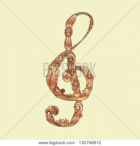 Golden treble clef. Colorful hand drawn vector stock illustration