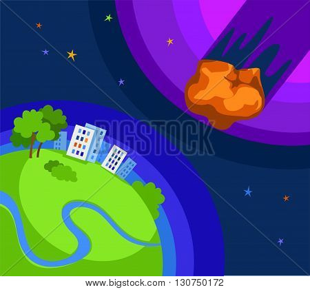 From space the green Earth flying asteroid threat. Colored, flat picture. Space motif.