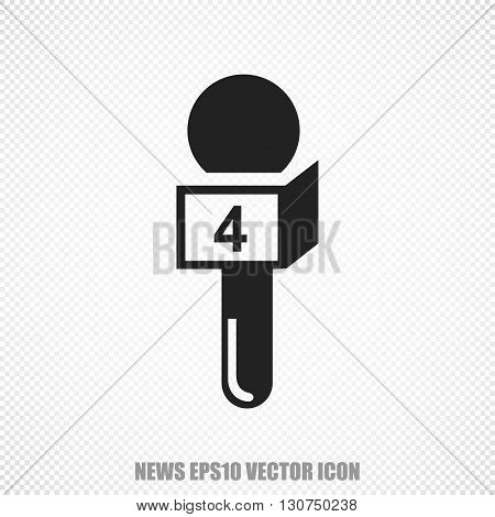 The universal vector icon on the news theme: Black Microphone. Modern flat design. For mobile and web design. EPS 10.