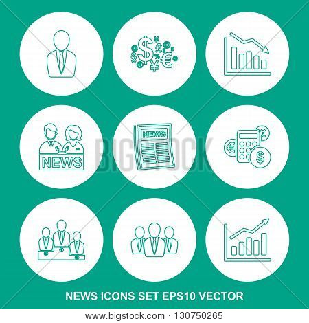 Set of news Greenlinear icons for mobile and web design. Modern flat design, thin line style. EPS 10, vector illustration.