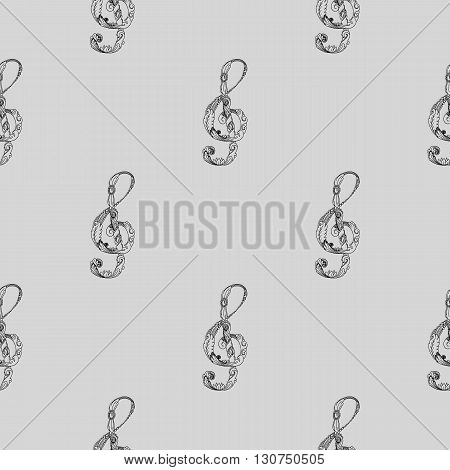 Treble clef black and white seamless background pattern. Hand drawn vector stock illustration