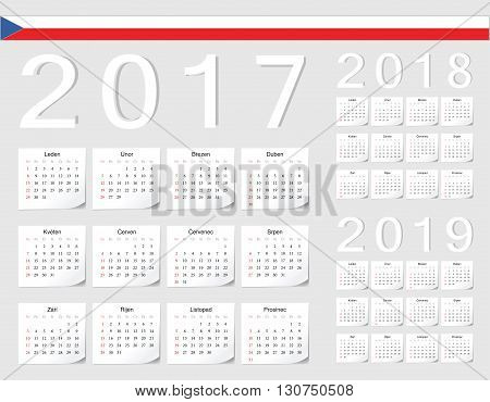 Set Of Czech 2017, 2018, 2019 Vector Calendars