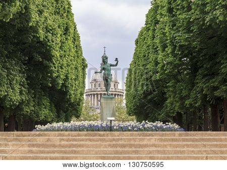 Paris, France - May 14: This is park avenue of the Luxembourg Gardens in the direction of the Pantheon May 14, 2013 in Paris, France.