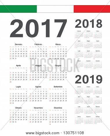 Set Of Italian 2017, 2018, 2019 Year Vector Calendars